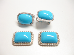 Photo showing the finished new Sleeping Beauty Turquoise cabs which match the sample earrings