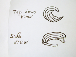 A sketch of a circular wave shape which they want us to carve in blue topaz.