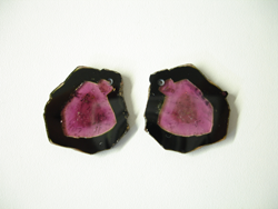 A matched pair of Watermelon Tourmaline which have a small drill hole near the top of each