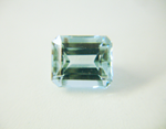 Photo of a light blue emerald cut Aquamarine.