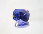 Photo of a cushion shaped blue Tanzanite.