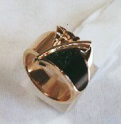 A ring with black Onyx with druzy crystals.