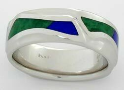 A platinum ring with blue and green inlays of Lapis and Maw Sit Sit Jadeite.