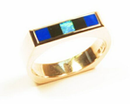 Ring with Opal, Lapis, and Onyx composite inlays.