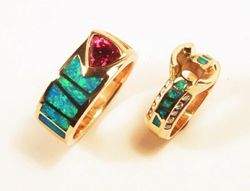2 Opal inlay rings. One is set with a trillion pink Tourmaline.