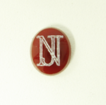 Photo of a rectangular brown Carnelian stone with the initials N J in white which were made with a laser.