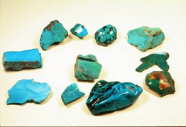 Picture of blue Turquoise rough rocks.