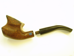 Photo of a smoking pipe which we inlaid with Lapis initials.