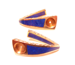 A pair of earrings inlaid with Lapis which needs one of the inlays replaced.