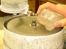 I am hand grinding the Quartz on my cutting lap.